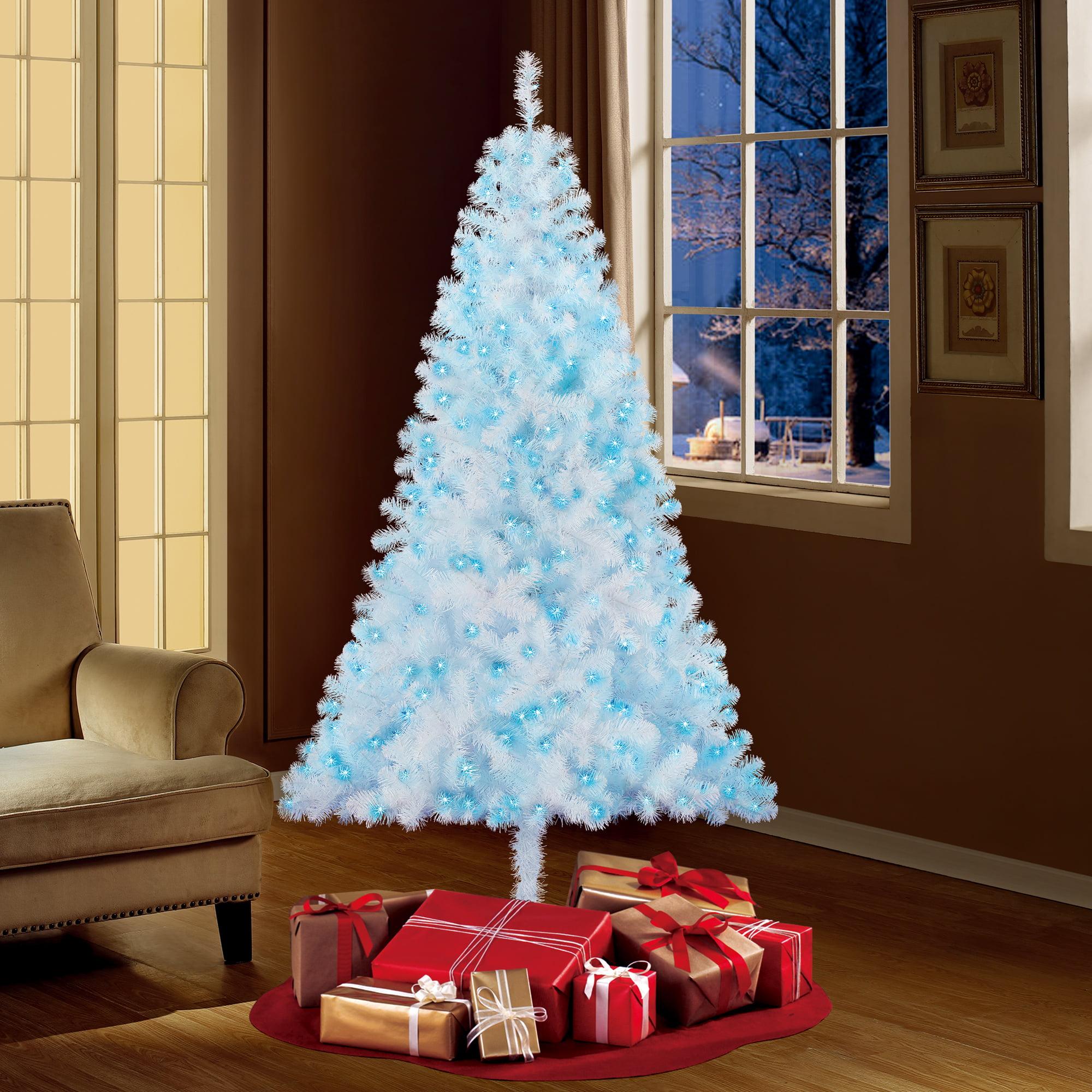 Holiday Time Pre Lit 6 5 Madison Pine White Artificial Christmas Tree Blue Lights Walmart Com Walmart Com