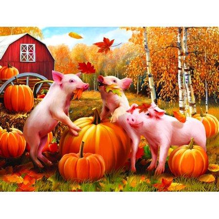 Pigs & Pumpkins 300 Piece Jigsaw Puzzle by, Pigs & Pumpkins 300 Piece Jigsaw Puzzle by SunsOut By - Jigsaw Pig