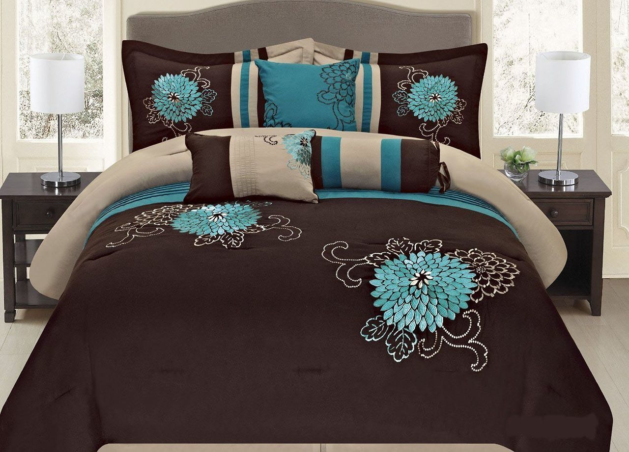 7 Pc Brown, Teal and Taupe Floral Striped Design Queen Size