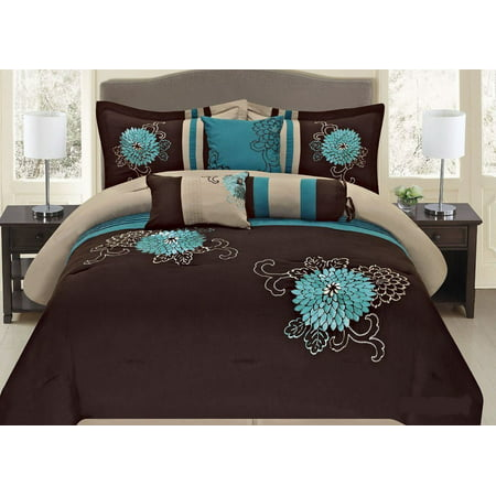7 Pc Brown, Teal and Taupe Floral Striped Design Queen Size Comforter set, by Legacy Decor