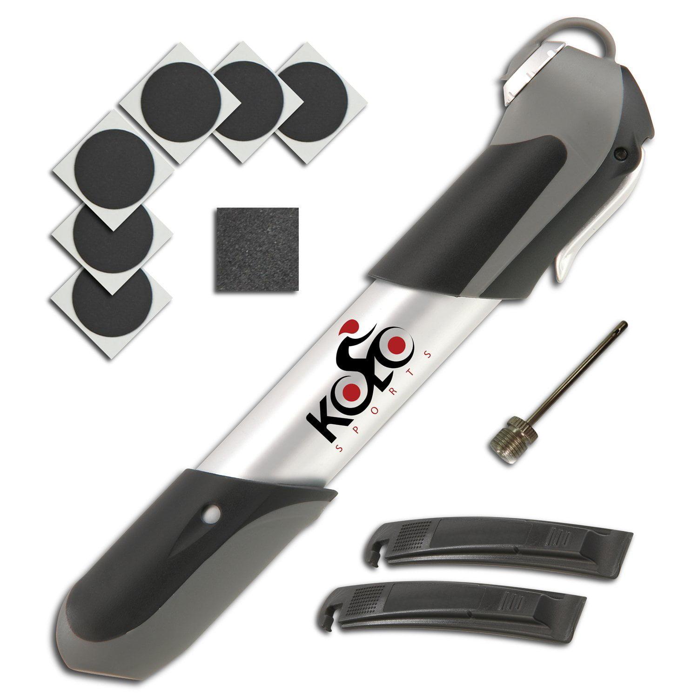 Premium Mini Bicycle Pump By Kolo Sports - Bike Tire Repair Essentials Kit - Frame Mounted 120 Psi Aluminum Telescopic Pump - Presta & Schrader Reversible Valve - Patches & Ball Needle