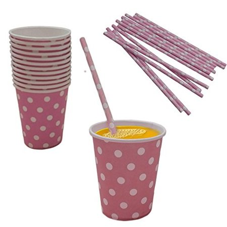 Light Pink And White Polka Dot Paper Cup And Straw Set- Pack Of 24- Includes 12 Polka Dot Cups And 12 Polka Dot Straws. Great for Parties, Birthdays, Holidays And Much More!! - White Straws