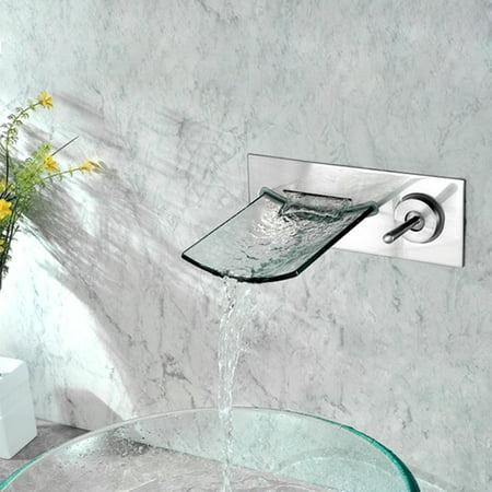 Wall-Mounted Nickel Copper Waterfall Bathroom Sink Faucet - Silver