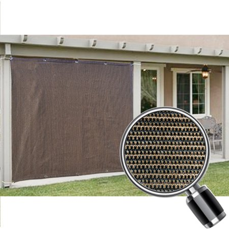 Alion Home Mocha Brown Sun Shade Privacy Panel with Grommets on 2 Sides for Patio, Awning, Window, Pergola or Gazebo  6' x 6'