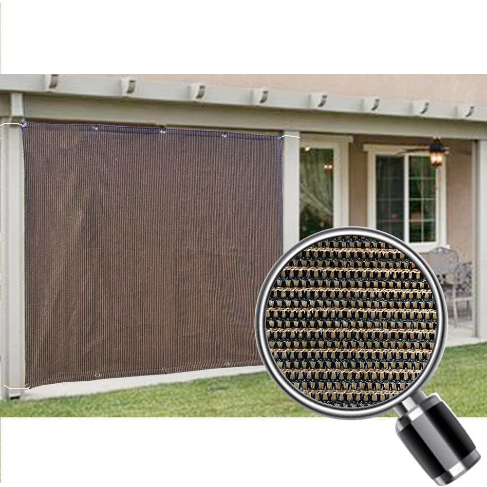 Alion Home Mocha Brown Sun Shade Privacy Panel with Grommets on 2 Sides for Patio, Awning, Window, Pergola or Gazebo  8' x 6'