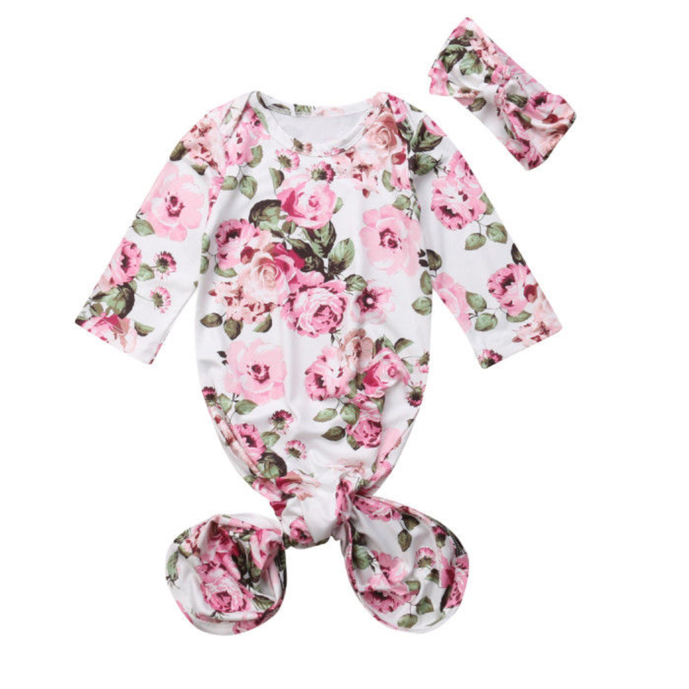 Newborn Infant Baby Girls Floral Sleeping Swaddle Bag Blanket With Headband