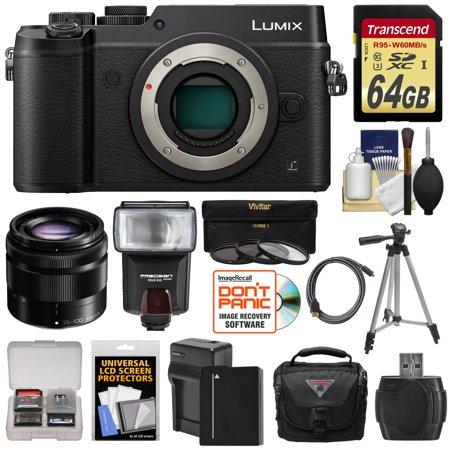 Panasonic Lumix DMC-GX8 4K Wi-Fi Digital Camera Body (Black) with 35-100mm OIS Lens + 64GB Card + Battery + Charger + Case + Flash + Tripod + Kit