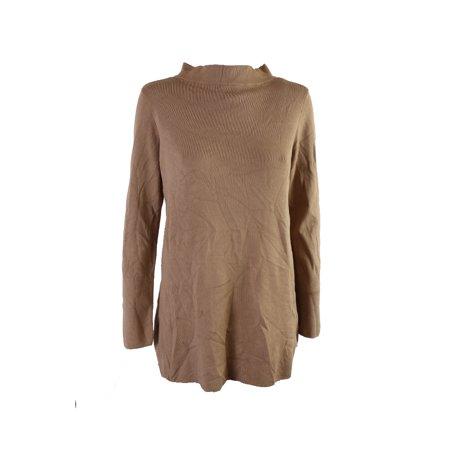 Alfani Modern Camel Long-Sleeve Mock-Neck High-Low Sweater L