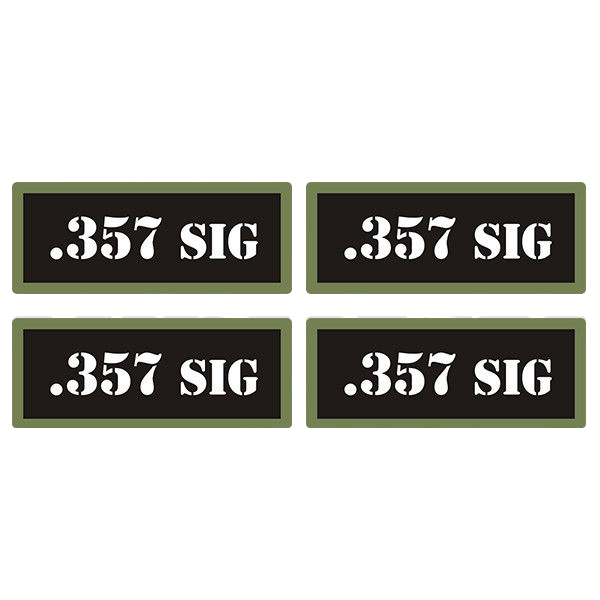 ".357 SIG Ammo Can 4 Pack 3"" Black Sticker Gun Ammunition Box Case Decal"