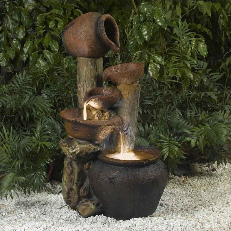 Jeco Pentole Pot Outdoor Indoor Fountain with Illumination