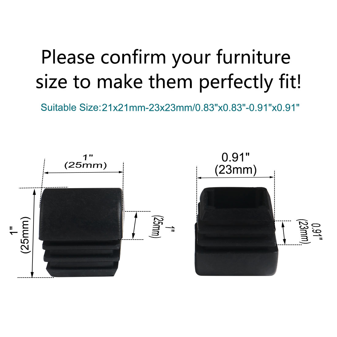 """Uxcell 15pcs 25 x 25mm Plastic Domed Square Tube Insert Cap, for 0.83""""-0.91"""" Inner Size - image 4 of 7"""