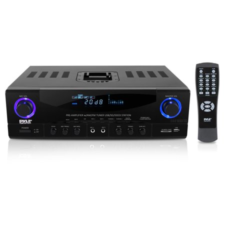 PYLE PT4601AIU - 500 Watt Stereo Receiver AM-FM Tuner/USB/SD/Ipod Docking Station & Subwoofer Control Ipod Docking Station Home Stereo
