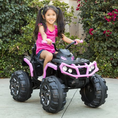 Ford Electric Vehicles - Best Choice Products 12V Kids Battery Powered Electric Rugged 4-Wheeler ATV Quad Ride-On Car Vehicle Toy w/ 3.7mph Max Speed, Reverse Function, Treaded Tires, LED Headlights, AUX Jack, Radio - Pink