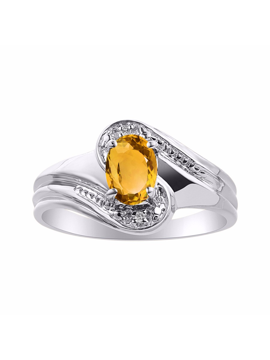 Diamond & Citrine Ring Set In Sterling Silver Color Stone Birthstone Ring DSL-LR7228CTW by Rylos