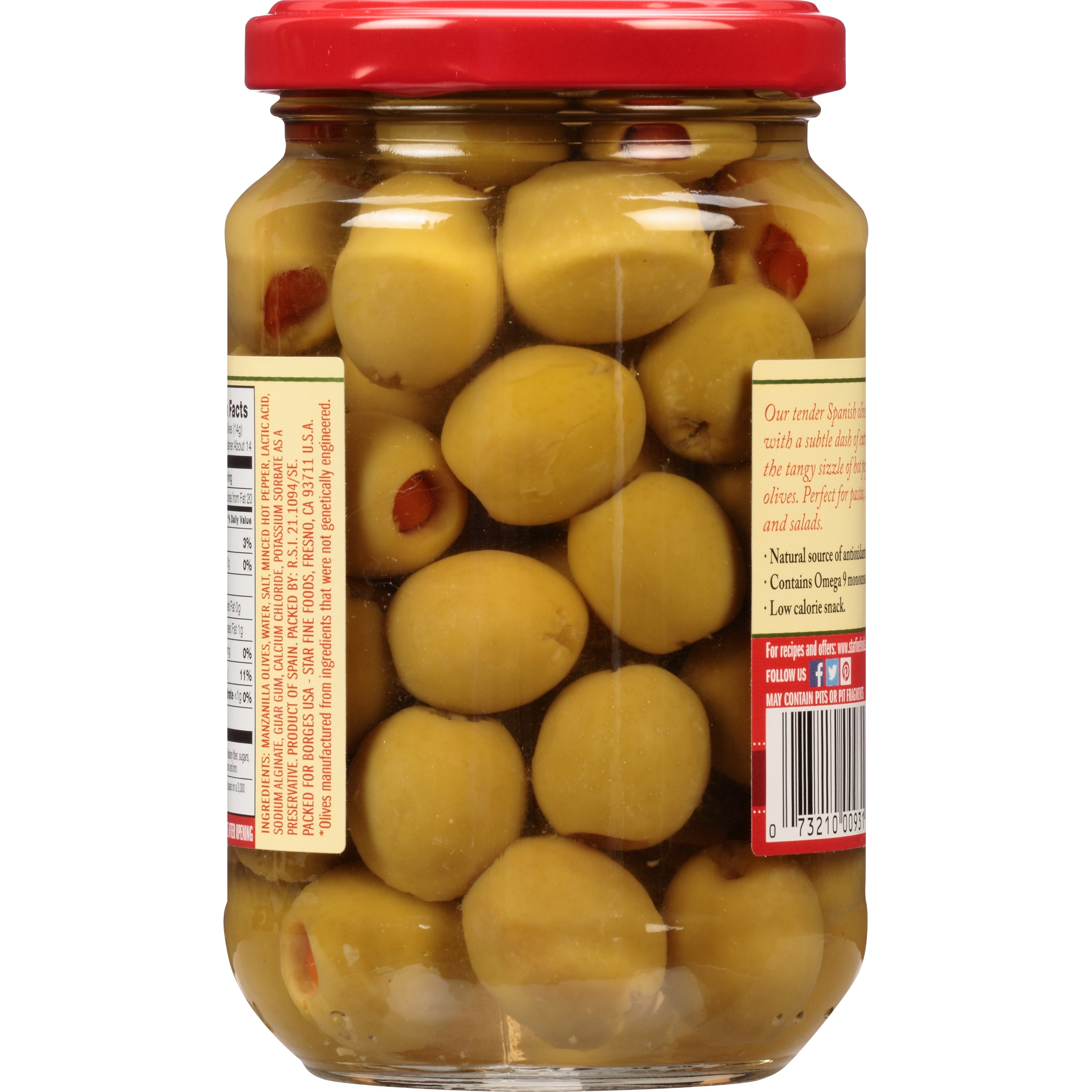 Star® Hot Pepper Stuffed Green Olives 7 oz. Bottle - Walmart.com
