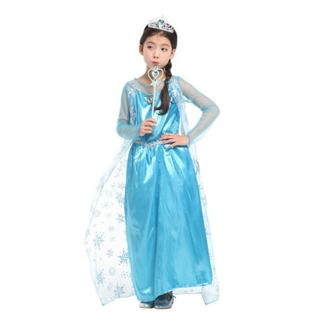 Girls' Ice Princess Ela Dress-Up Costume Set with Fairy Wand, M - Disney Character Dress Up