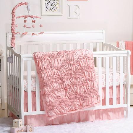 24 Coral Shell - Jayden Coral Smocked Baby Girl Crib Bedding - 20 Piece Nursery Essentials Set