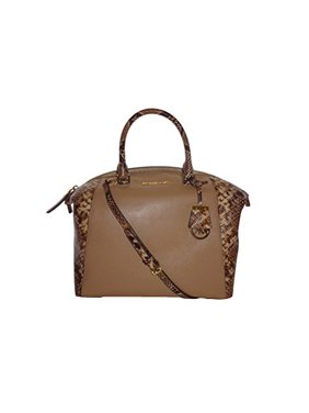34a5e9d7ec07 Product Image Michael Kors Riley Large Satchel Dark Khaki Python Leather Bag
