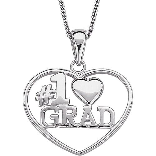 "Sterling Silver #1 Grad Heart Pendant, 18"""