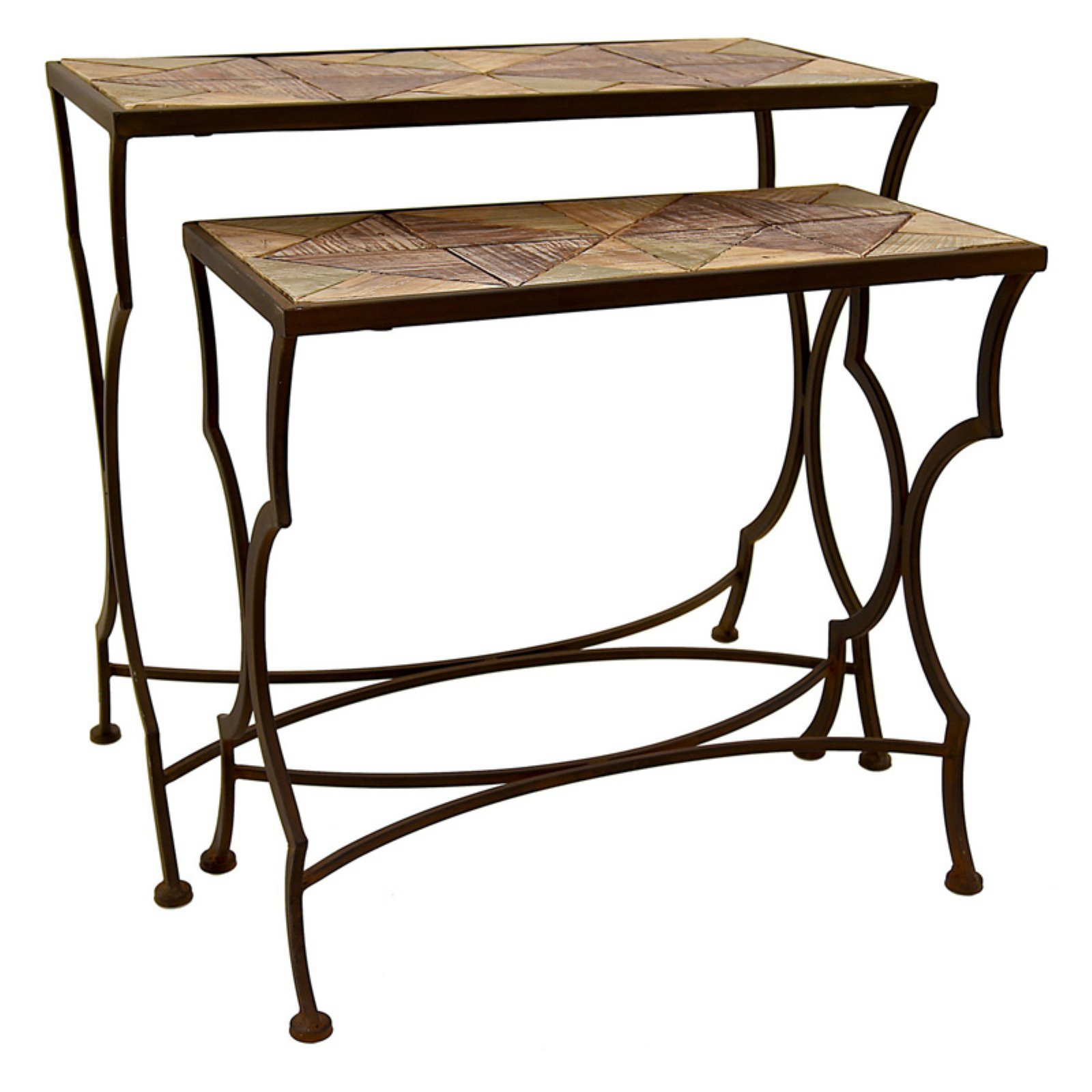 Three Hands Rustic Metal and Wood Nesting Tables - Set of 2