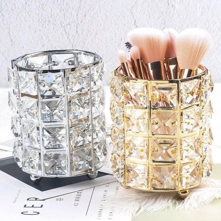 Art Crystal Pen Holder European Light Luxury Diamond Crystal Pen Holder Makeup Brush Storage Box Metal Storage Finishing