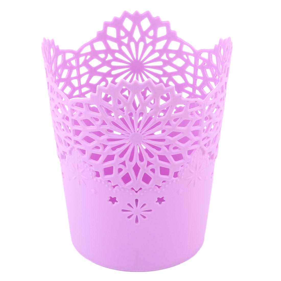 Household Plastic Hollow Out Trinket Pen Desktop Storage Basket Organizer Purple