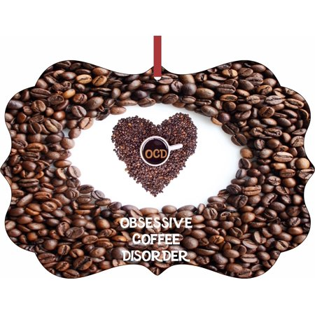 Obsessive Coffee Disorder - Rosie Parker Inc. TM Double-Sided Flat Benelux-Shaped Holiday Tree Ornament Made in the USA ()
