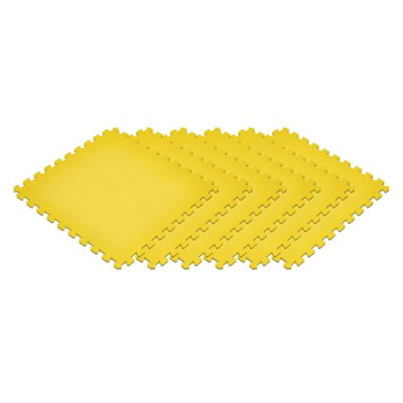 Norsk Yellow 24 in. x 24 in. EVA Foam Non-Toxic Solid Color Interlocking Tiles, 24