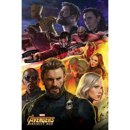 Avengers: Infinity War - Movie Poster / Print (Rocket, Groot, Loki, Star-Lord, Captain America, Black Widow...) (Size: 24
