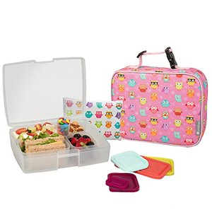 Bentology Lunch Bag and Box Set for Girls - Includes Insulated Sleeve with Handle, Bento Box, 5 Containers and Ice Pack - Owl