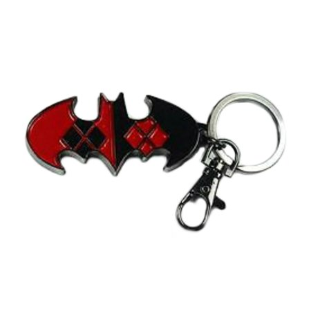 Joke Keychain - Superheroes DC Comics Harley Quinn Logo (Batman & Joker) Keychain for Autos, Home or Boat with Gift Box