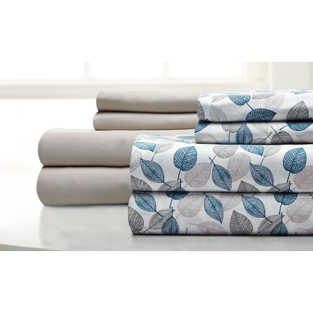 Image of 8 piece sheet set Falling Leaves Blue Coral (teal) Full