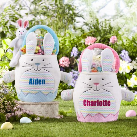 Personalized Polka Dot Cuties Easter Basket - Blue-Available In Blue or Pink - Personalized Easter Baskets For Boys