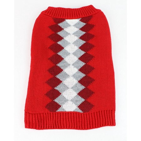 Argyle Dog Sweater by Midlee (X-Large, Red) (Red Argyle Dog Sweater)