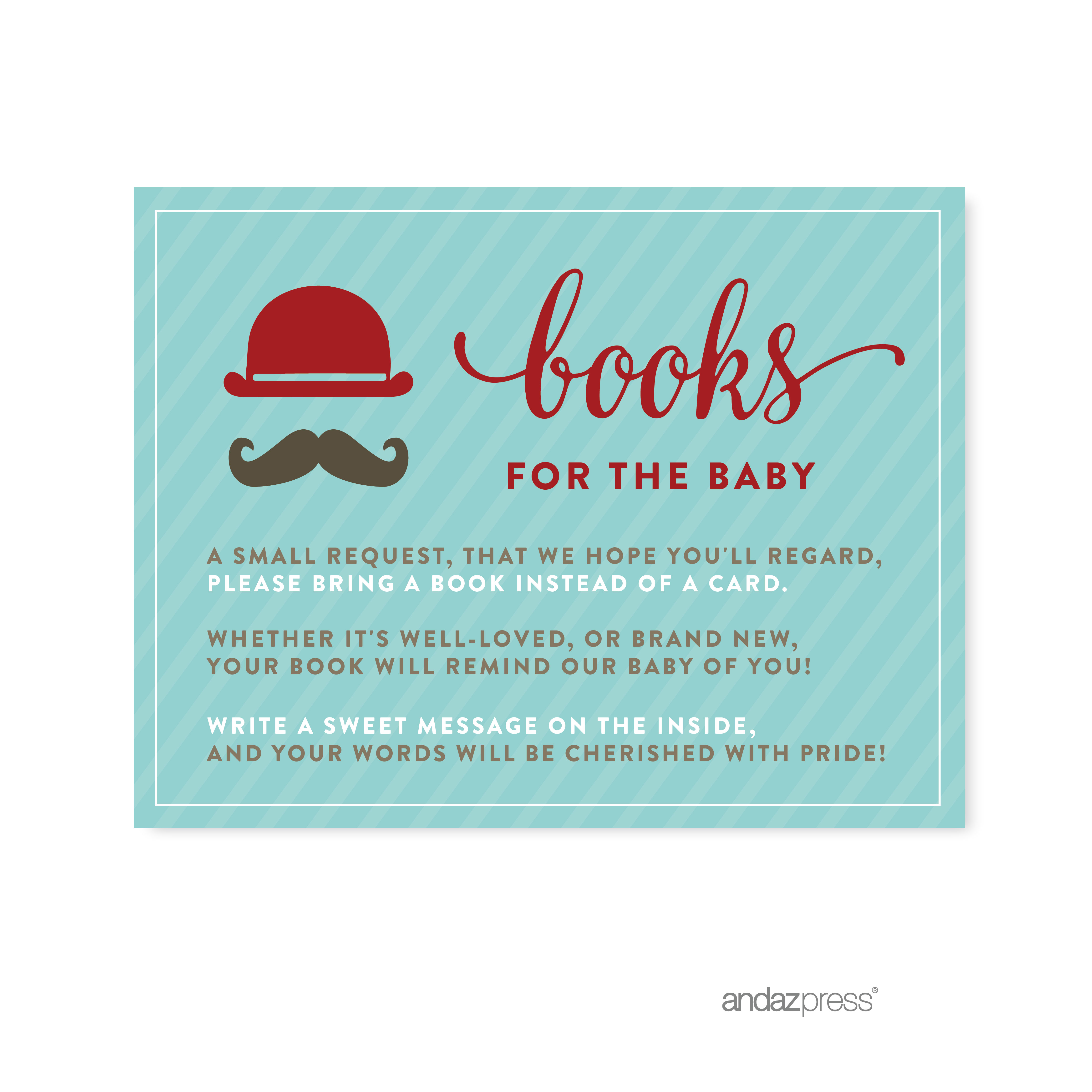 Books For Baby  Lil Man Mustache Boy Baby Shower Games Request Cards, 20-Pack