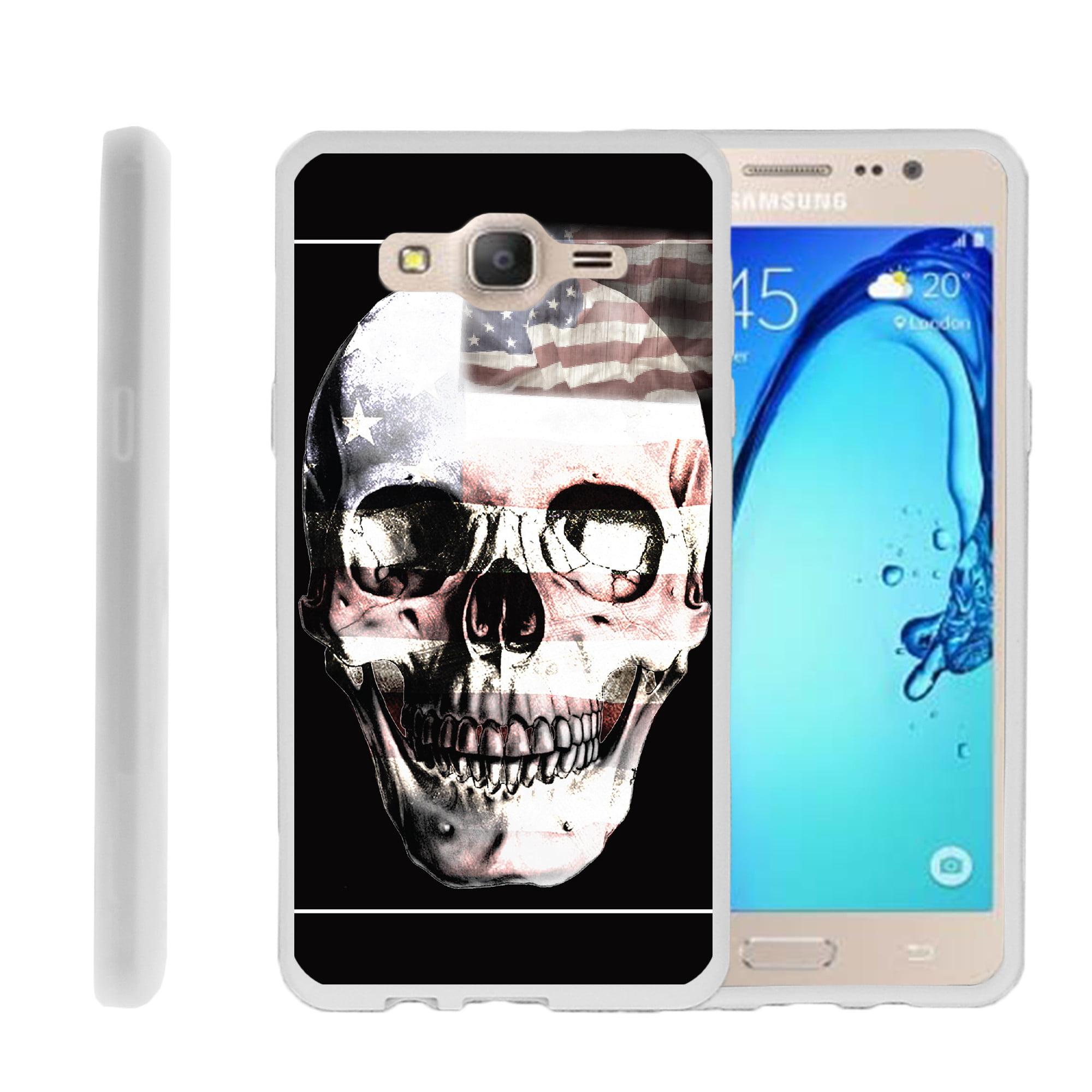Samsung Galaxy On5 G550, Flexible Case [FLEX FORCE] Slim Durable  Sleek Bumper with Unique Designs - USA Skull