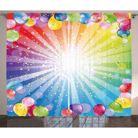 Birthday Curtains 2 Panels Set, Festive Striped Backdrop with Balloons Dots Confetti Rain Celebration Birthday, Window Drapes for Living Room Bedroom, 108W X 96L Inches, Multicolor, by Ambesonne