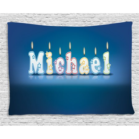 Michael Tapestry, Kids Boys Name Letter Design for Delicious Birthday Party Cake Decoration, Wall Hanging for Bedroom Living Room Dorm Decor, 80W X 60L Inches, Blue and Multicolor, by Ambesonne for $<!---->