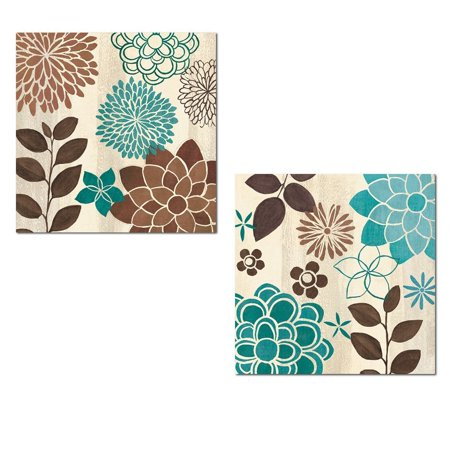 Beautiful Turquoise and Brown Flower and Leaf Print Set by Veronique Charron; Two 12x12in Poster Prints