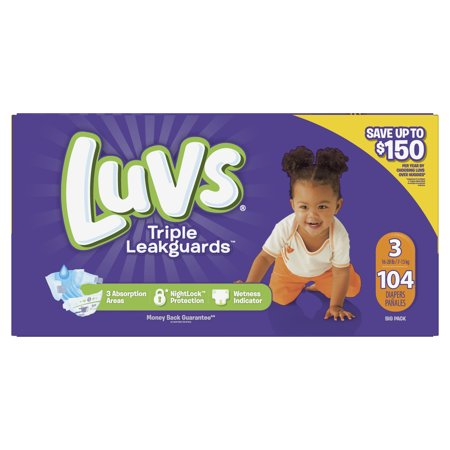Luvs Ultra Leakguards Diapers, Size 3 104 Count