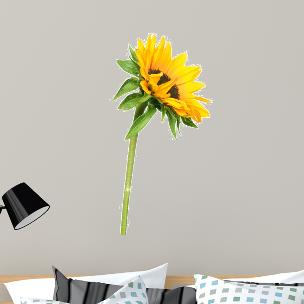 sunflower wall decal sticker wallmonkeys peel stick vinyl graphic 36 in h x 18 in w. Black Bedroom Furniture Sets. Home Design Ideas