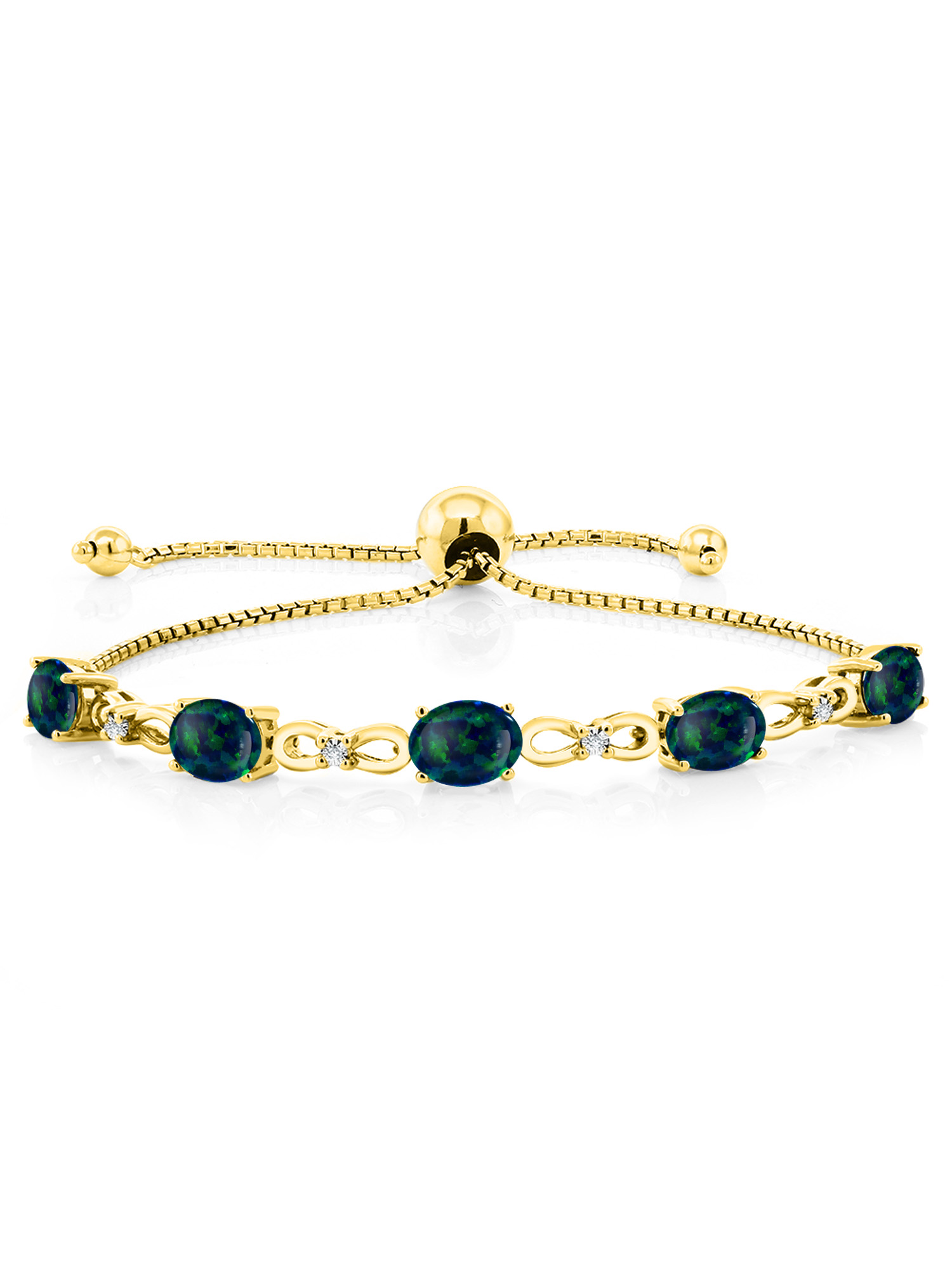 3.15 Ct Green Simulated Opal 18K Yellow Gold Plated Silver Diamond Bracelet by