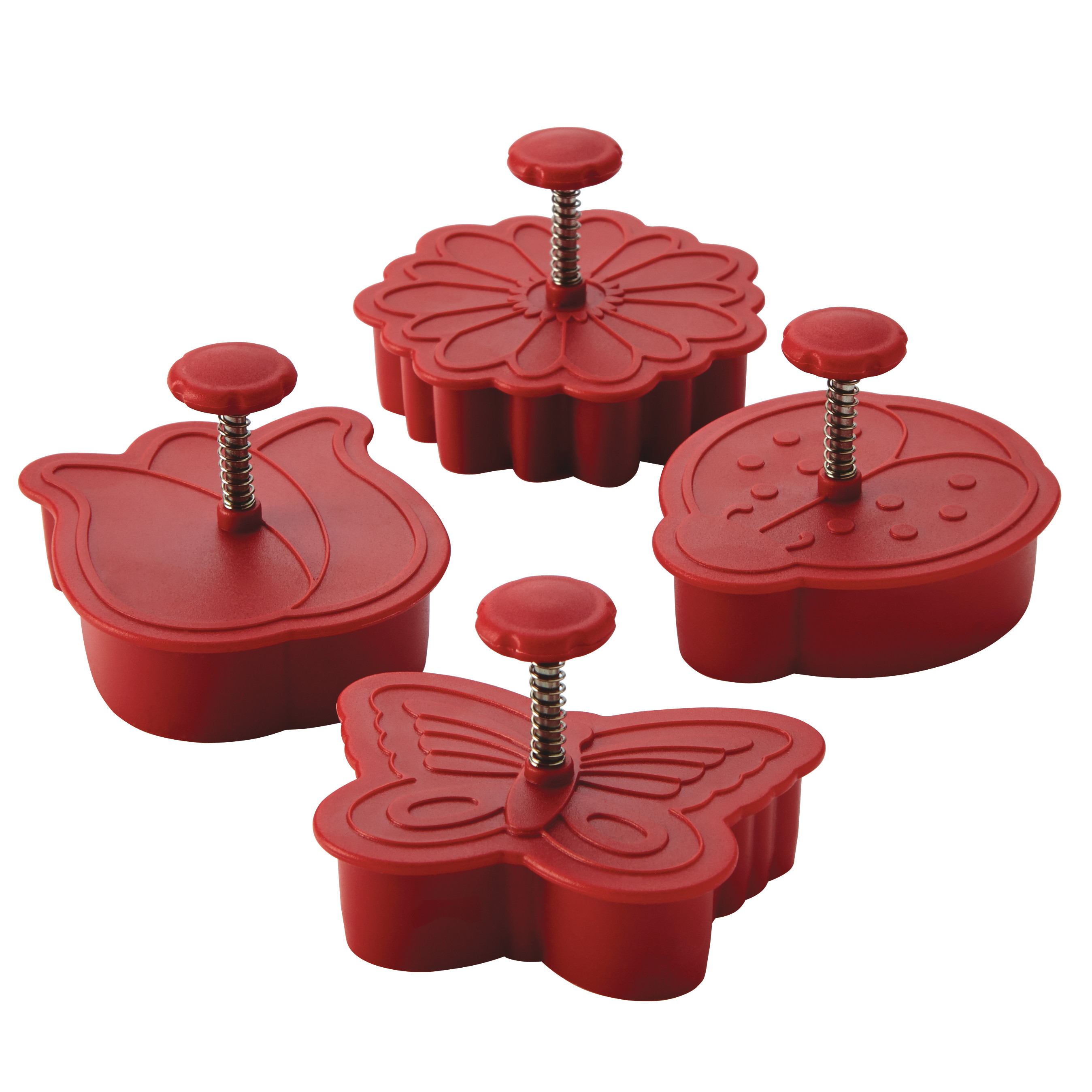 Cake Boss Decorating Tools 4-Piece Springtime Fondant Press Set, Red