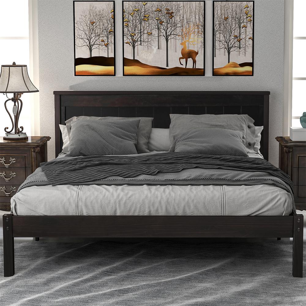 Queen Bed Frame with Headboard, Modern Brown Wood Platform ...