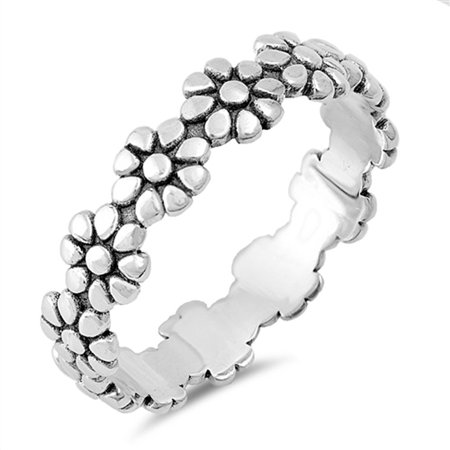 Eternity Plumeria Flower Beautiful Ring New .925 Sterling Silver Band Size 8