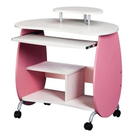 TECHNI MOBILI Wood Computer Workstation In Pink And White