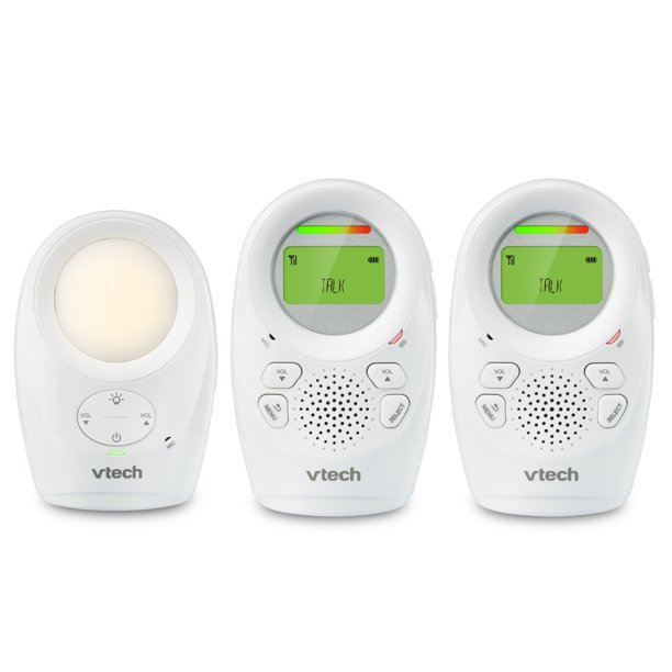 VTech DM1211-2 Enhanced Range Digital Audio Baby Monitor with Night Light, 2 Parent Units, Silver and White