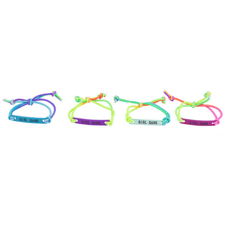Lux Accessories Rainbow Corded Girl Gang Best Friend Forever ID Bracelet Set