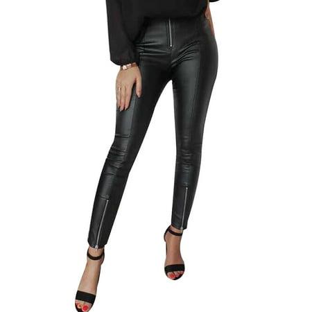 Utowu Women PU Leather Pants Ladies High Waist Leggings Stretch Zipper Pencil Trousers