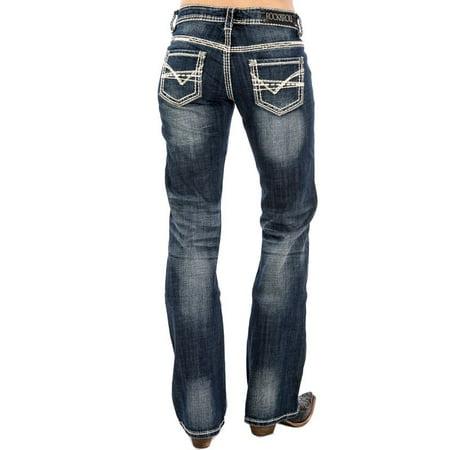 ab0cfd0c05e Rock N Roll Cowgirl - Rock N Roll Cowgirl Womens Cowgirl Ivory Stitch  Riding Jeans - Walmart.com
